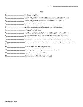 fats quiz or worksheet for nutrition and health students nutrition