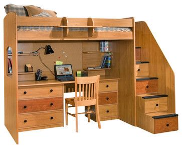 Berg Furniture Utica Lofts Dorm Twin Loft Bed with Storage Staircase transitional-kids-beds