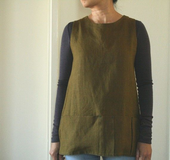 WOMEN'S LINEN PINAFORE / linen tunic / flax / Eco clothing / vegan / maternity / plus size clothing / linen clothing / organic / pamelatang