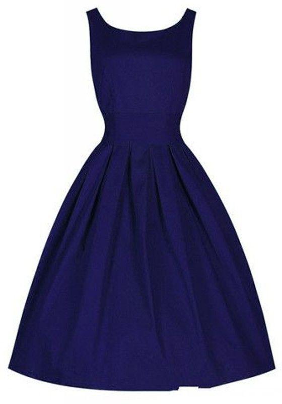Blue Plain Pleated Round Neck Sleeveless Vintage Midi Dress