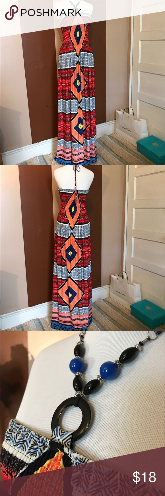 EXTRA LONG • Maxi Dress 54in long, measured from necklace strap • Gently used • 95% polyester • 5% spandex Magic Dresses Maxi
