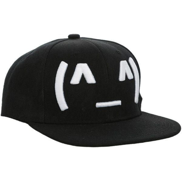 Happy Emoticon Snapback Cap | Hot Topic ($12) ❤ liked on Polyvore featuring accessories, hats, snapbacks, black snapback cap, snapback cap, black snap back hat, snap back caps and black snapback