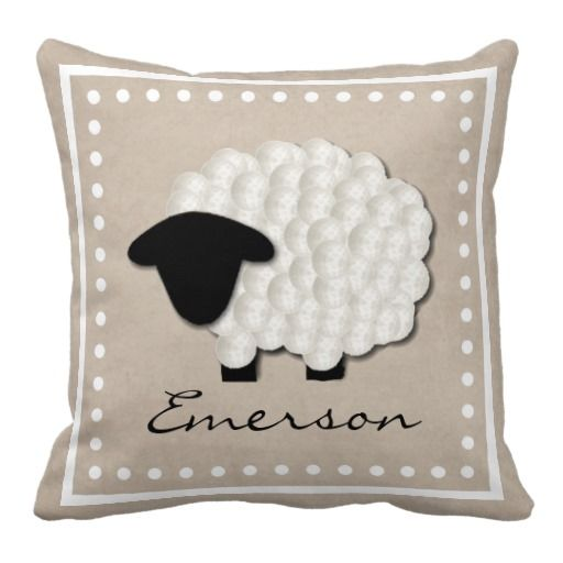 Personalized Name Little Lamb Nursery Pillow