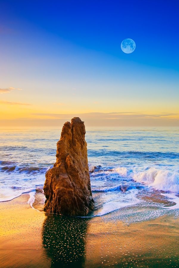 ~~Full Moon Setting Over Malibu Sea Stack ~ California by Greg Clure~~