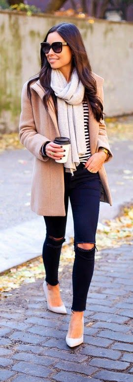 Stand Collar Wool Coat with Mid-Rise Skinny Jeans and Grey Suede Pumps