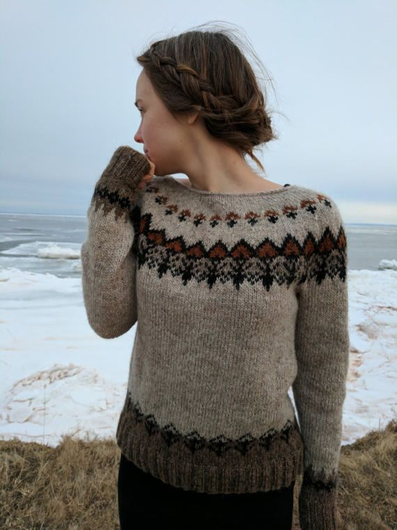 Icelandic Sweater / Lopapeysa Hand Knit in Light Beige Wool