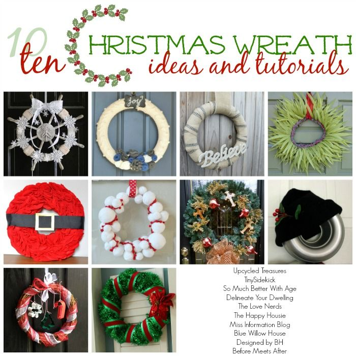 SoMuchBetterWithAge.com: Ten (10) Christmas Wreath Ideas and Tutorials - wreaths for you to get some inspiration this holiday season.