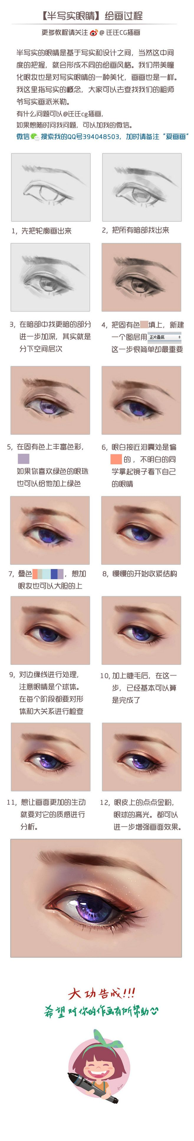 Original works: [semi realistic eye painting] -CG painting ...