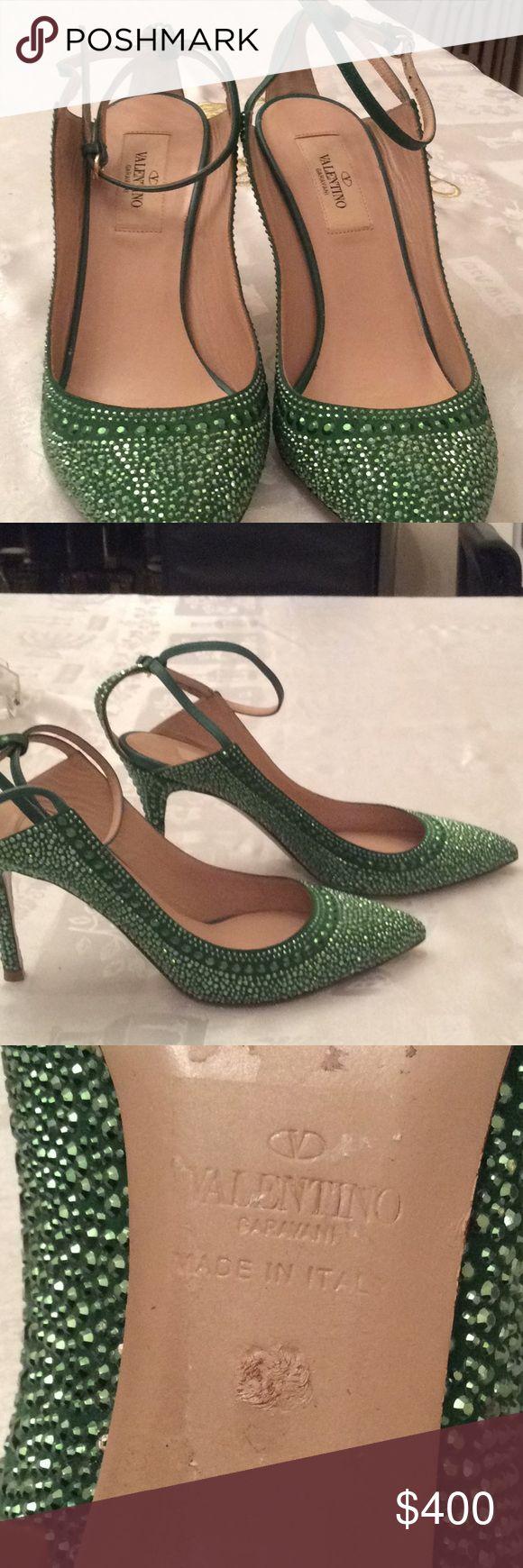 NWOB Valentino studs heel Gorgeous green studs pumps by Valentino Garavani.  Ankle strap, t-back high heels... Size 37. Valentino Shoes Heels