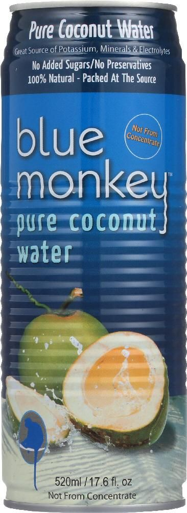 BLUE MONKEY: 100% Natural Pure Coconut Water No Pulp, 17.6 oz