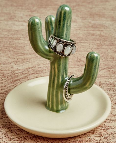 Small Cactus Ring Holder. #earthboundtrading #cactus #ringholder #rings #jewelry