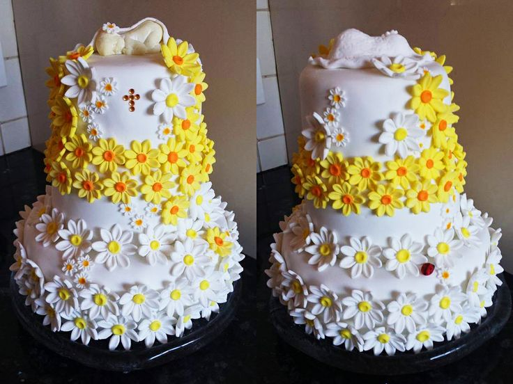Youngest daughter's christening cake #christening #flowers #cake #ladybeetle