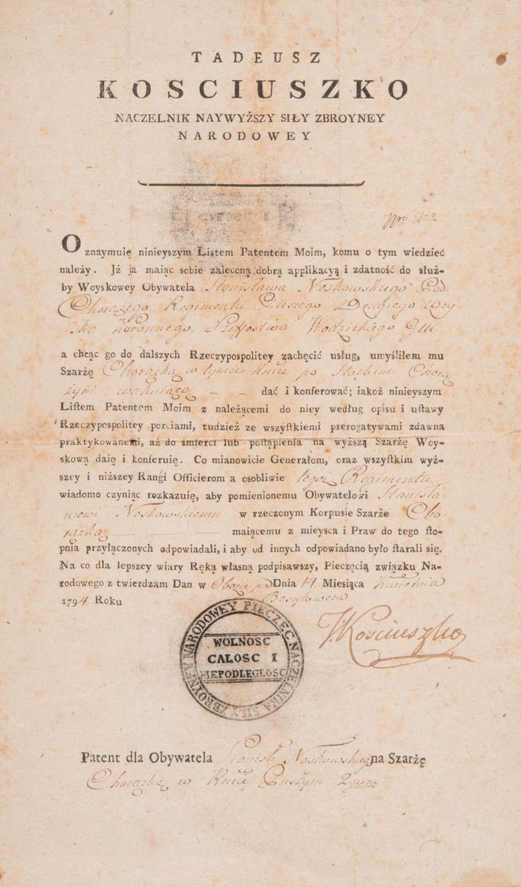 kosciuszko tadeusz | TADEUSZ KOSCIUSZKO (1746-1817) Pièce autographe signée, 14 avril ...