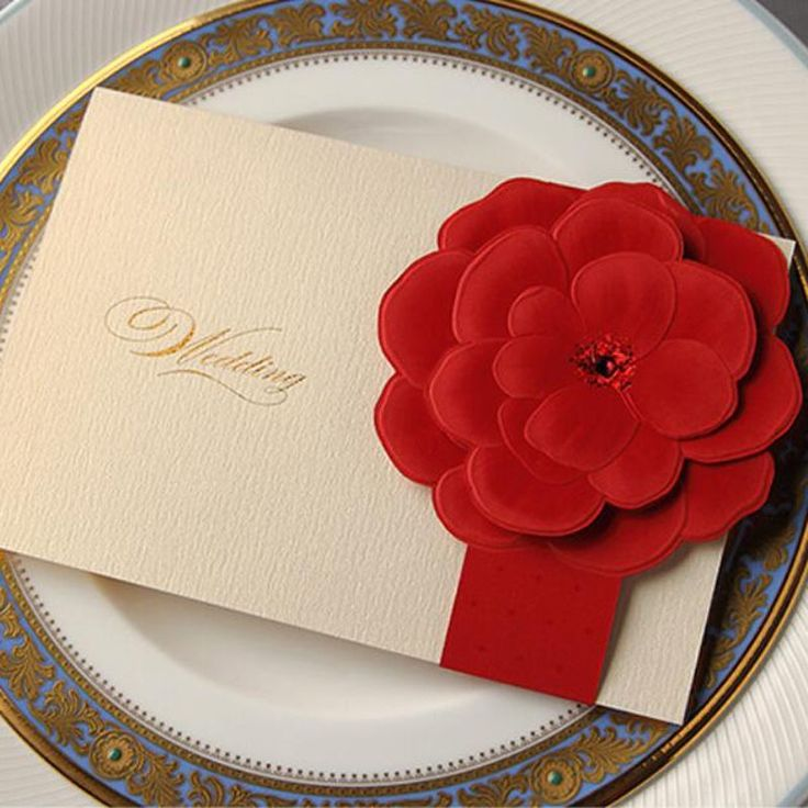 (44.39$)  Know more  - 50pcs 3D Red Flower Wedding Invitation Card Greeting Card Postcard Customize Printing Laser Cut Wedding Event Party Supplies
