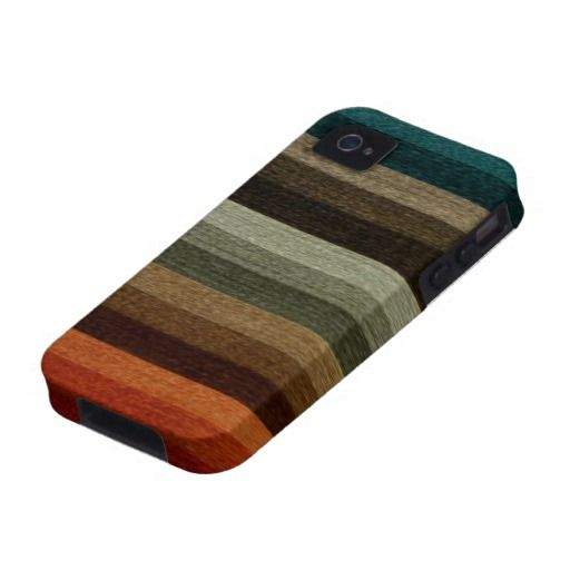 Vintage Warm Autumn Stripes Pattern, Earth Tones iPhone 4 Cover