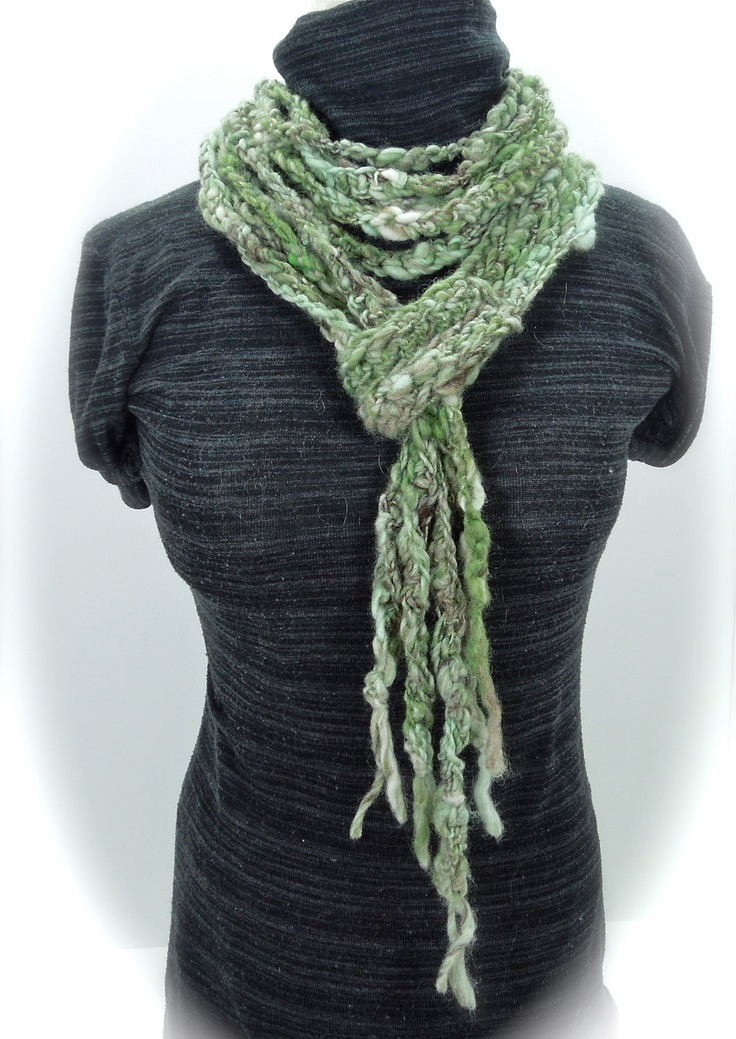 Handspun. Rope Scarf.  Crocheted. Green.. $29.00, via Etsy.