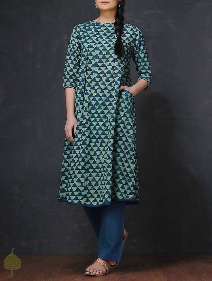 Buy Indigo Green Resist Printed Pleated Handloom Mangalgiri Cotton Kurta Women Kurtas Online at Jaypore.com