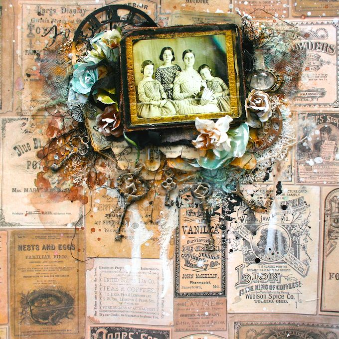 Scraps of Elegance scrapbook kits: Lisa Griffith created this amazing vintage  mixed media layout with our May 2016 'Belle Journee' kitSubscribe to our kits and get a new box of mixed media scrapbooking fun in the mail each month! www.scrapsofdarkness.com