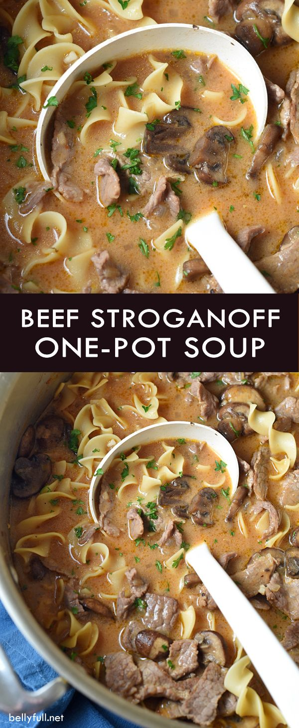 Classic beef stroganoff is transformed into a hearty, yet light soup. And no need to cook the noodles first, because it's all made in one pot. Easy weeknight dinner!                                                                                                                                                                                 More