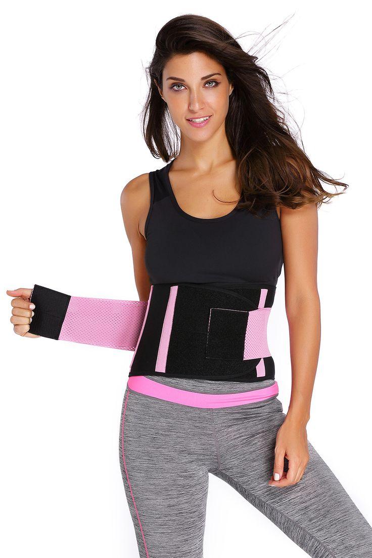 Clip zip waist trainer perfect floral design waist training cinchers - Pink Sweat Band Waist Training Belt