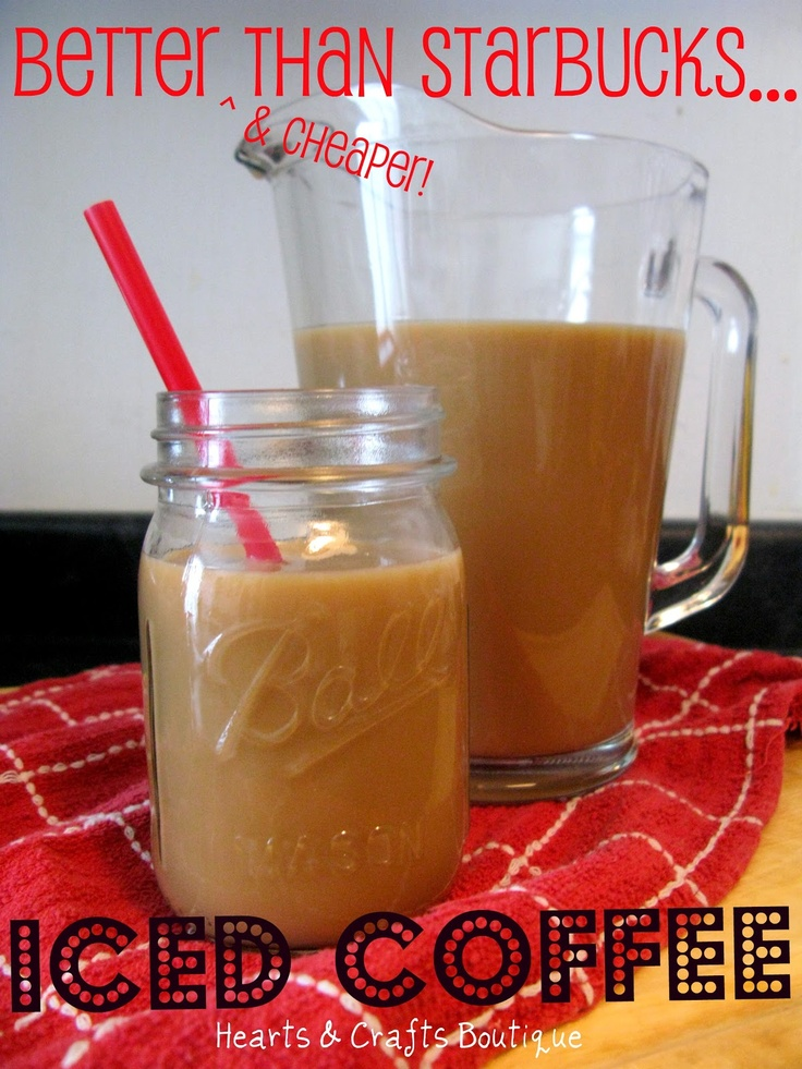 DRINKS | {Better Than Starbucks} Iced Coffee | Here is a go-to iced coffee recipe: 8 cups hot coffee; 1/4 cup white sugar; 1/4 cup light brown sugar; 1/4 cup milk (prefer fat-free); 1/4 cup creamer (doesn't matter what kind). Mix all ingredients, then chill!  That's it -- easy as pie! Try different kinds of creamer. For the one pictured above, Coffeemate's White Chocolate Caramel Latte flavour was used. Delicious!