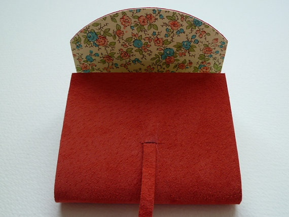 Small Salmon Pink Suede Bound Notebook/Journal with Floral Paper Lining by Leather Bound