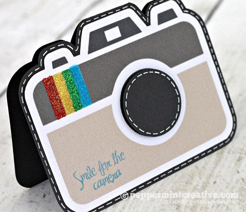(Candace Zentner) A camera shaped card.