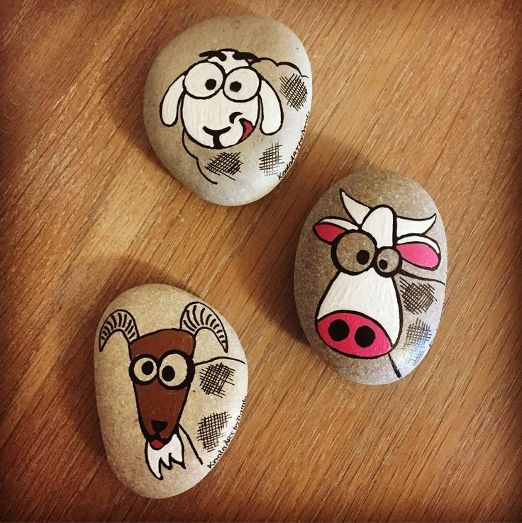 Hand painted goat rocks.