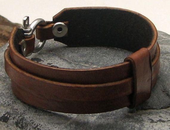 Men's leather bracelet . Brown by eliziatelye