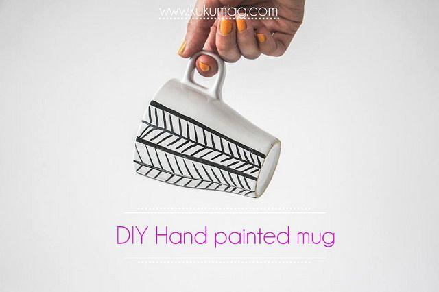 DIY Hand painted mug ręcznie malowany kubek- zrób to sam http://kukumag.com/pl/