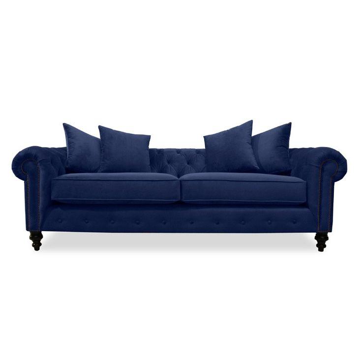 "South Cone Home - Hanover Velvet Tufted Sofa 90"" in Blue - PATRICK90VBLUE"