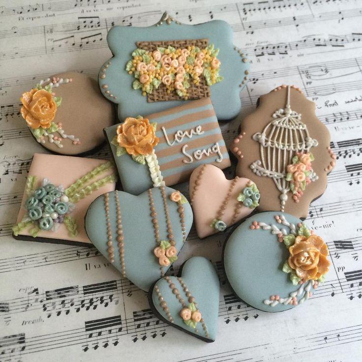Heart bird cake flowers shabby chic cookies tan wedgewood blue tan yellow gold