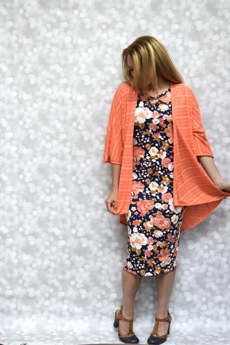LuLaRoe Julia Dress, LuLaRoe Lindsay Cardigan, LuLaRoe Kelly Stevens