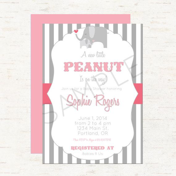 Elephant Vintage Circus Baby Shower Invitation Or Evite For A Girly   Baby  Pink And Gray