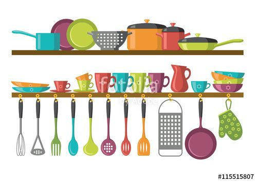 """Download the royalty-free vector """"kitchen shelves and cooking utensils""""…"""
