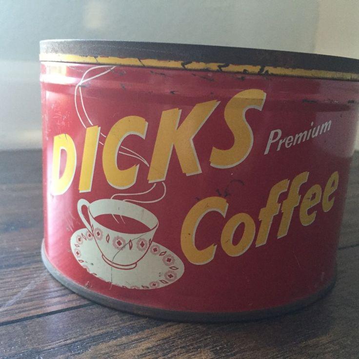 Vintage Dicks premium Coffee Tin Antique Advertising Old rare