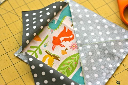 Way easier method than the one that has small squares sewn on the corner, then trimmed off. A lot less fabric is wasted this way!
