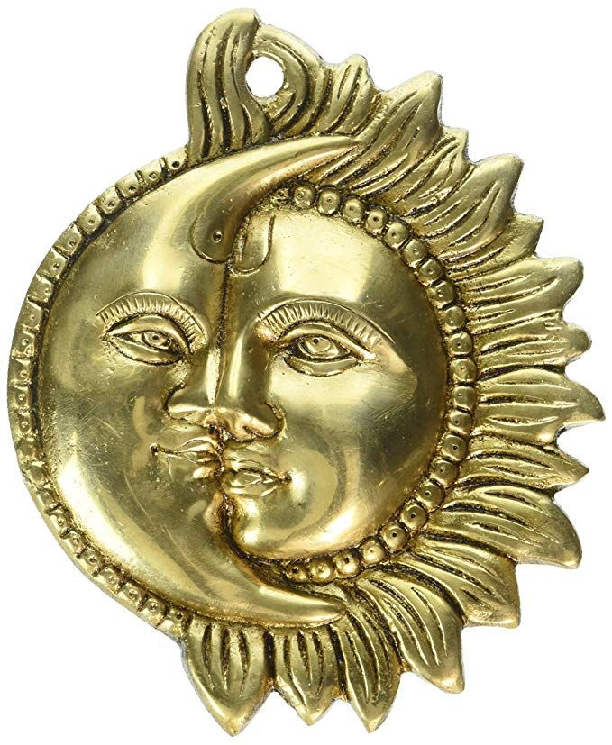 Wall Hanging Brass Figurine Sun And Moon Sculpture For Home Da C Cor Indian 6 5 Inch Review Brass Figurines Sculpture Moon Wall Art