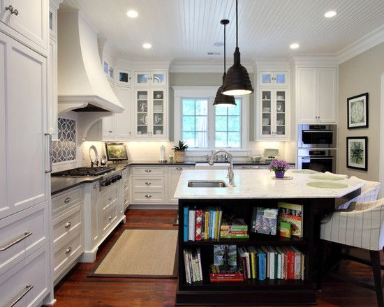 Kitchen Island with bookshelf on end + kithcen countertops  cabinets