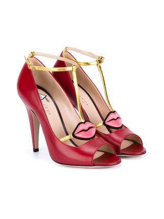 34a22473ee18 Gucci Red lips 105 leather Sandals
