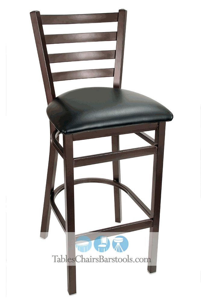 GLADIATOR Rustic Brown Powder Coat Ladder Back Metal Bar Stool W/ Black  Vinyl Seat