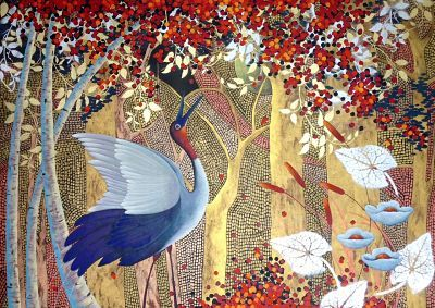 """SOLD """"Crane in Golden Forest"""" by Cheryl Petersen www.tuskgallery.com.au"""