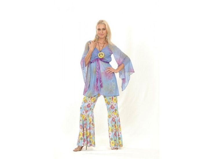 Groovy hippie Costume - Spread the peace and make love not war with our groovy hippie costume. A great choice for any dress up occasion. #Costume contains shirt, necklace and pants.