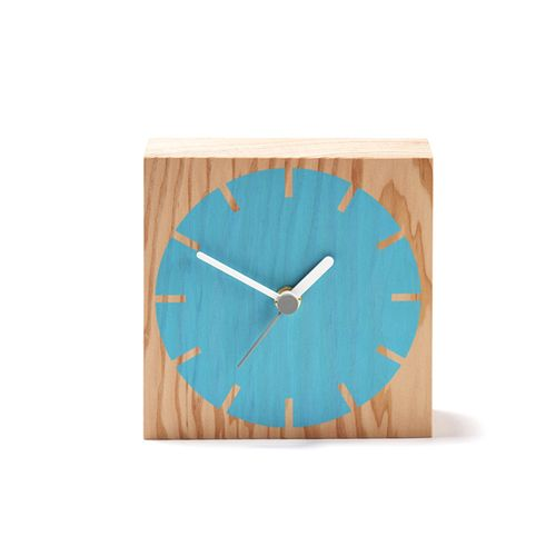Secondary Cog Wooden Desk Clock: A timber clock for the shelf, mantel or desk with a colour screen printed dial.  German made silent quartz mechanism, takes 1 x AA battery. Battery not included.  Douglas fir (natural finish) & hand screen printed.