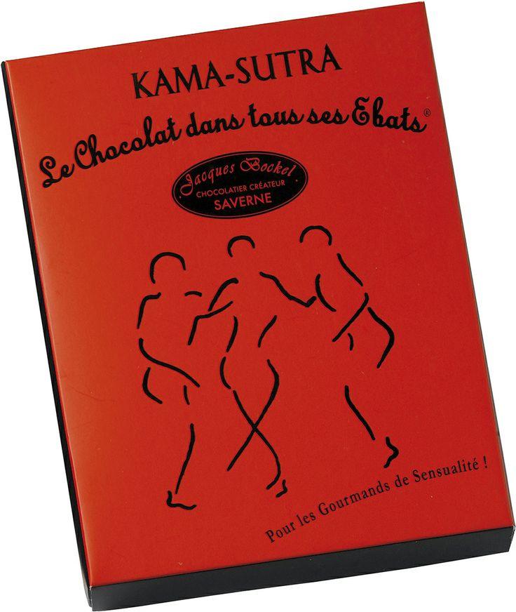 Le chocolat dans tous ces ébats ! Un coffret coquin, une collection de 8 saynètes érotiques idéales pour raviver la flamme. Pour varier les plaisir, le coffret existe en deux intensité de chocolat : au lait 40% ou noir 70%. Un best seller depuis sa création en 2000. Jacques Bockel, Chocolatier-Créateur - Le coffret Kama-Sutra - PV conseillé : 23,69€ -  www.planet-chocolate.com