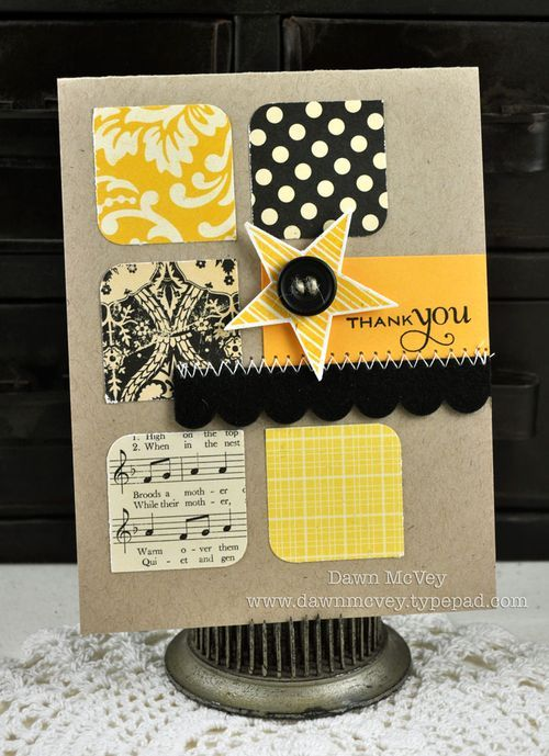 """Paper: October Afternoon-Thrift Shop patterned papers; Papertrey - summer sunrise, kraft, rustic creamStamps: Star PrintsInk: true black, summer sunriseOther: small scallop border die, star punch, black felt, black button, rustic jute button twine, corner chomper, 1 3/8"""" square punch, sewing machine/thread"""