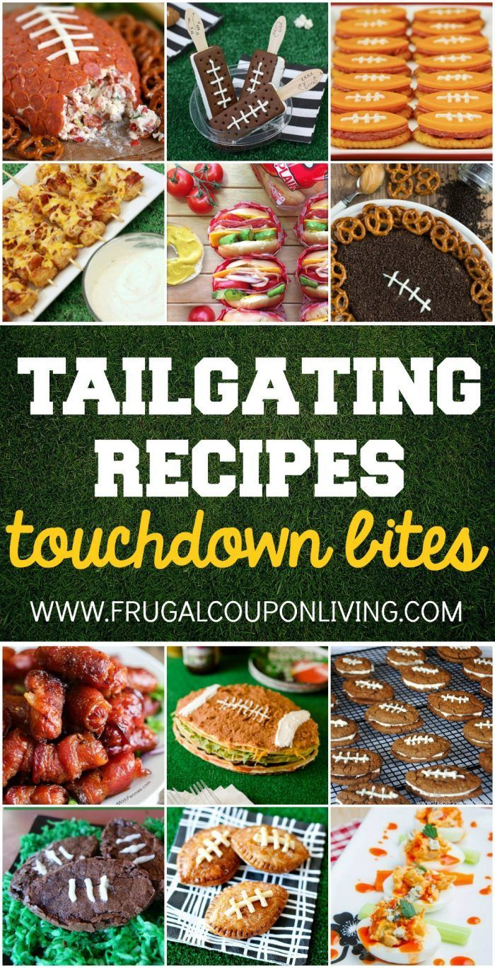 Tailgating Recipes and Football Party Food Ideas for your stadium gathering on Frugal Coupon Living. Dessert Football Recipes. Appetizers for game day.
