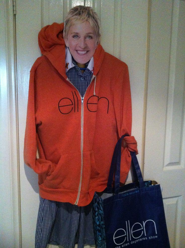 Keep warm #Ellen Love that orange hoodie!! #bagitellen & #doitinadress