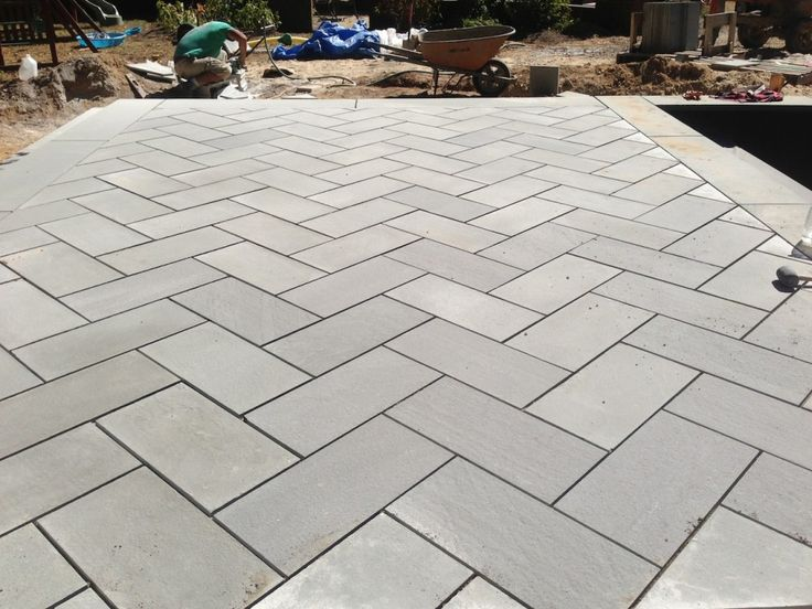 Thermal Bluestone Patio in Herringbone