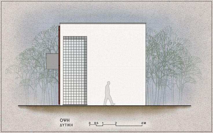 Standardised One-Family House Prototype 130 sqm, West Elevation - www.pzarch.gr
